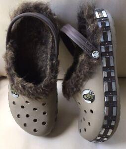 RARE Crocs STAR WARS CHEWBACCA Fuzz-lined Brown Clog-Adult Unisex Men 10 W12