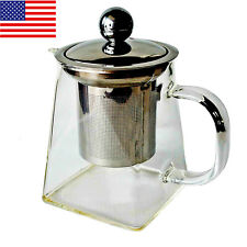 Borosilicate Glass Teapot 12oz Stainless Steel Filter Square infuser tea pot USA