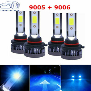 4 Bulbs Kit 9005 9006 8000K Ice Blue Combo COB LED Headlight High Low Beam Bulbs