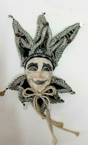 Nice Vintage Smiling Mask Joker Handmade Masquerade Decor Wall Hanging Home Art