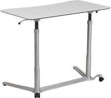 Adjustable Mobile Sit-Down & Stand-Up Computer Desk in Light Gray w/37.5'''W Top