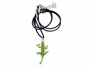 Chameleon Necklace Miniblings Charm Reptile Lizard Iguana Green Leather