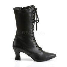 "Gorgeous 2.75"" Vegan Pointy Victorian Witch Pioneer Granny Black Goth Boots 6-12"