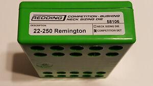 58106 REDDING TYPE-S COMPETITION BUSHING NECK DIE SET- 22-250 REMINGTON - NEW