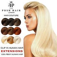 POSH Clip in Human Hair Extensions REMY Full Head|The Posh Hair +FREE Bonus