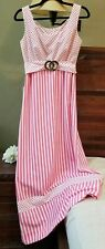 Vintage Long maxi Dress Pink/White Sexy size 8? Collector's Dress 1960?