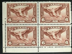 CANADA 1935 # C5 - AIR MAIL 6cent RED BROWN - LL CORNER BLOCK OF 4 - MNH