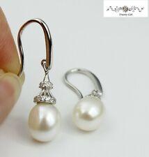 Women 925 Sterling Silver Delicate White Freshwater Pearl Dangle Hook Earring