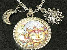 "Celestial Sun Moon Star Fantasy Charm Tibetan Silver 18"" Necklace A2 Bin"