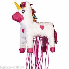 "23"" Magic White & Pink Unicorn Princess Pull Pinata Party Game Decoration"