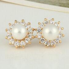 Women Gorgeous Cute Sun Flower Pearl Rhinestone Ear Stud Earrings Party Wedding
