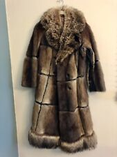 New ListingVintage Retro Muskrat Racoon Fur Leather Full Length Trench Coat