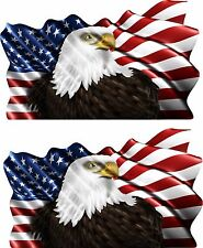 2-Set American Eagle Vehicle Flag Trailer Boat Car Wall Art Truck Sticker Decals