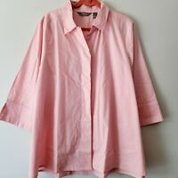 Martha Stewart Poplin Button 3/4 Slv Hi-Low Hem Blouse Peony XL
