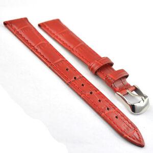 Genuine Leather Watch Band Strap Alligator Grain VIP Stainless Steel Buckle 065