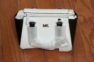 NWT Michael Kors $298 Nolita Mini Messenger Crossbody Tote Bag Optic White/Black