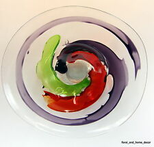 "20"" Hand Blown Art Glass Table Platter Plate Red Green Purple Wall Hanging Mount"