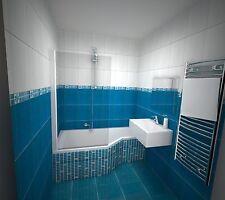 Badewanne 160x80 cm incl. Füße + Badewannenaufsatz / Raumsparwanne + Duschwand L
