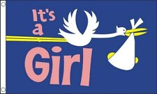 ITS A GIRL STORK FLAG 5' x 3'  Birth Party Birthday Newborn New Baby