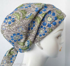 Sweet Blue Flowers on Gray Cancer Chemo Alopecia Hair Scarf Turban Hat Headwrap