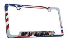 Harley Davidson Wordmark Patriotic Flag Theme UV Printed License Plate Frame