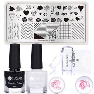 5Pcs/Set BORN PRETTY Rose Nail Art Stamping Plates Polish Stamper & Scraper