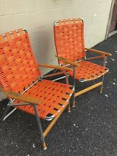 New listing Pair Of Vintage Orange Aluminum Retro Folding Lawn Chairs