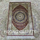 YILONG 2'x3' Medallion Handknotted Silk Area Rug Dome Pattern Red Carpet Z356A