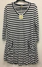 Comfy USA Amy Tunic Crinkle Tissue V Neck 3/4 Sleeves Stripes Size XS Style C176