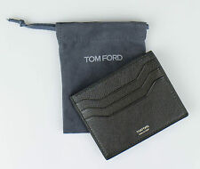 NWT TOM FORD Green Smooth 100% Leather Open Side Card Holder Wallet $290