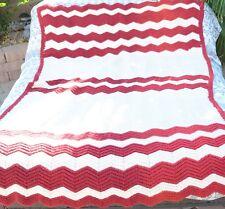 VTG Retro Boho Hand Crochet Grandma Chevron Stripes Afghan Blanket 76 x 48 T143