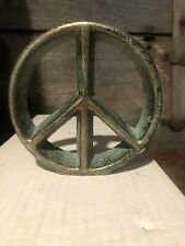Cast Iron Peace Sign Green And Gold Distressed 5� Round New Nice+