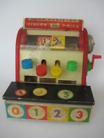 vtg 1960s Fisher Price wood CASH REGISTER toy play kitchen coin retro wooden 972