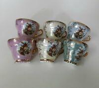 6 Lustre Glaze Demi Cups with Windmill Design