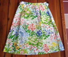 Vintage 70s Handmade Bright Floral 100% Cotton A-Line Wrap Skirt Small