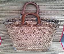 Antico borsa spesa paglia, art pop, déco vintage, francese antico bag negozio