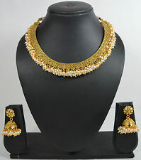 South Indian Traditional Jewellery Gold Pearl New Design Necklace Jumki Earring
