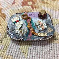 Pat Tyler Dollhouse Miniature Designer Wicker Basket Tray W/Wallet Belt, Etc.