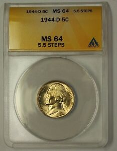 1944-D Wartime Silver Jefferson Nickel 5c Coin ANACS MS-64 5.5 Steps M