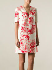 STELLA MCCARTNEY RED CREAM FLORAL GRAPHIC SILK DRESS IT 36 XS 0 2 UK4 rare