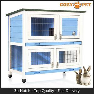Rabbit Hutch 3ft by Cozy Pet Blue Guinea Pig Hutches Run Rabbit Ferret Runs RH06