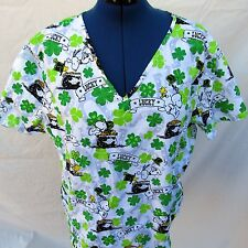 Snoopy Scrub Top Woodstock Clover St Patrick Lucky 3XL Short Sleeve