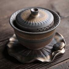 Lotus Leaf Shaped Saucer Ceramic Gongfu Tea Gaiwan Lided Teacup 150ml 5.07oz