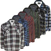 Mens Fleece Padded Lumberjack Shirt Jacket Sherpa Fur Lined Winter Warmer M-5XL