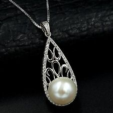 11m White Freshwater Pearl CZ Pendant Necklace Chain 925 Sterling Silver 07463