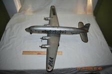 """Vintage 50s Marx Pan American 4 Prop Pressed Steel Dc-7C N6519C 27-1/2"""" 00004000 ; Airplane"""