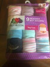 fruit of the loom 9 Girls Boy Shorts Size 14 (9 Heather Boy Shorts) Tag Free
