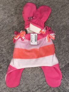 Children's Place Girls Hat and Mittens - Pink and Peach Multi Color - M 2t-3t
