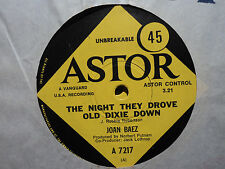 "Joan Baez ""The Night They Drove Old Dixie Down"" 1971 ASTOR Oz 7"" 45rpm"