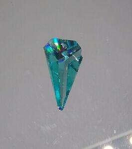 Swarovski Crystal Antique Green 25mm Inverted Triangle 8762 Pendant; Logo Etched